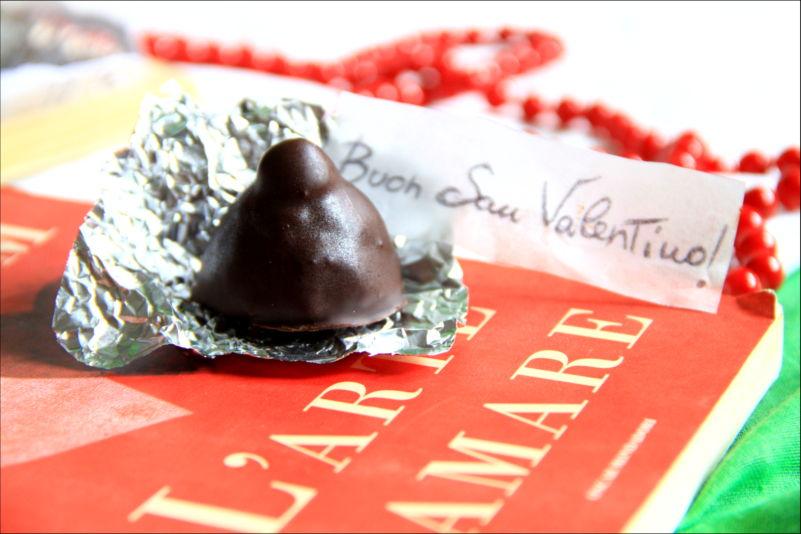 """Un bacio crudista tagliato a metà, sopra un libro """"l'arte di amare"""""""
