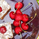 Un piatto scuro con all'interno dei quadrotti di dolcetti alle ciliegie. Sullo sfondo fiorellini bianchi.