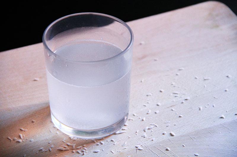 Un bicchiere di acqua di cocco
